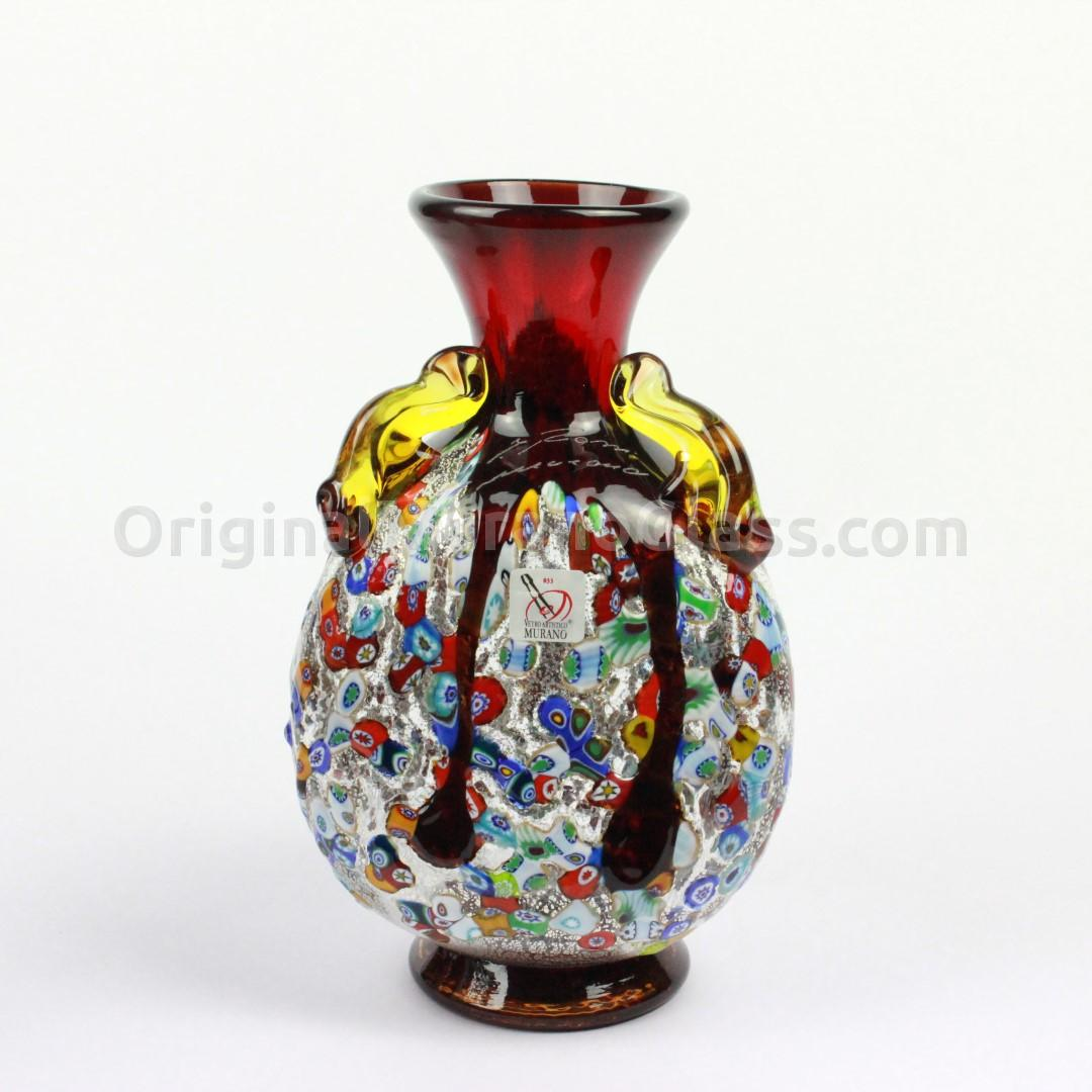 murrina vasi red : Vases Blown Selection : Red Vase with murrina and silver decoration