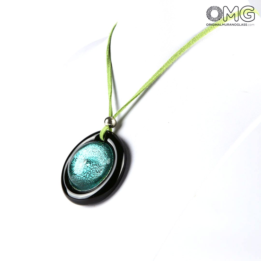Necklace - green circular submerged glass - Original Murano Glass OMG