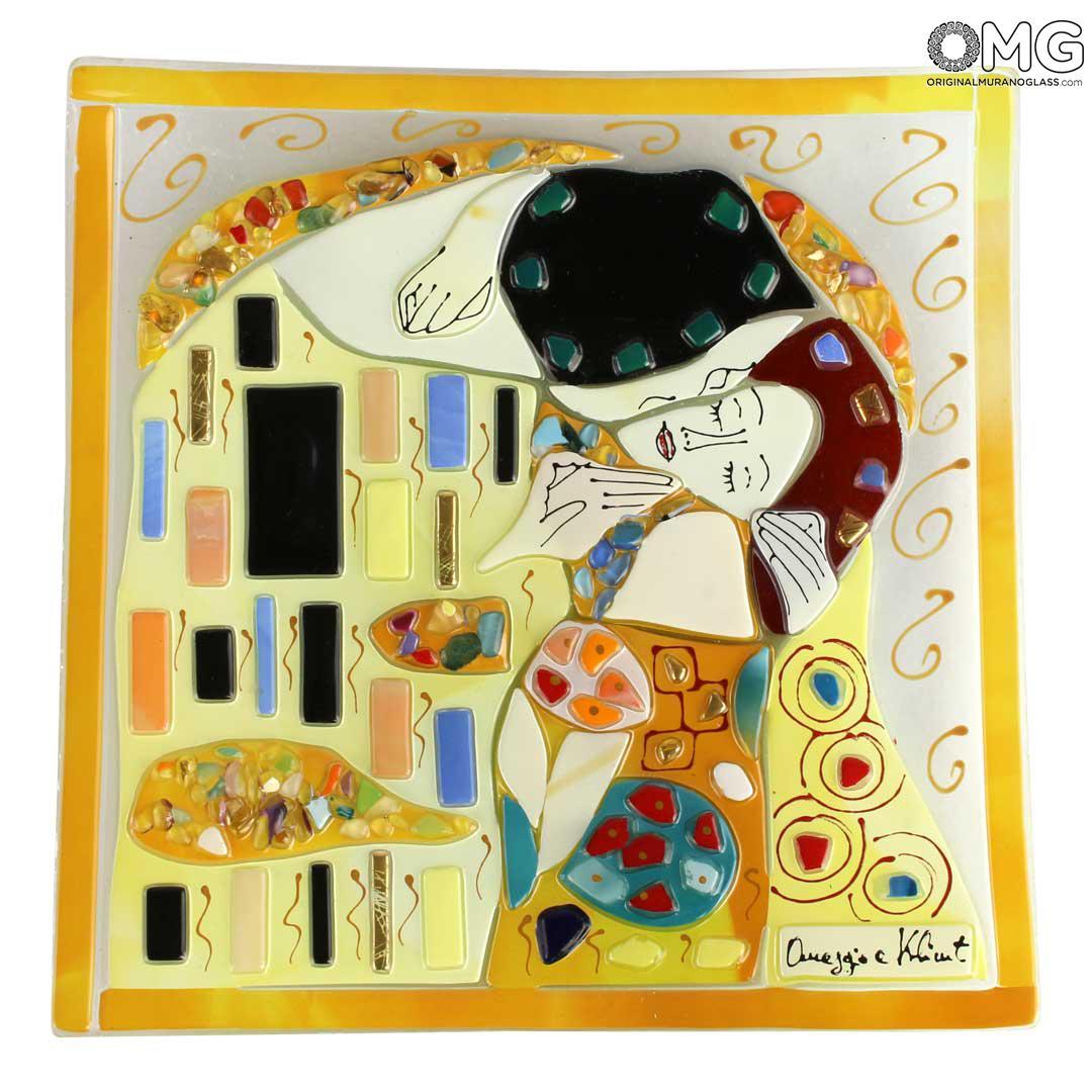 Декоративное блюдце Поцелуй Климта - муранское стекло OMG