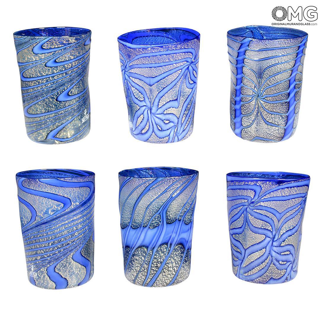 Laguna Glasses Set - Tumblers with silver - Original Murano Glass