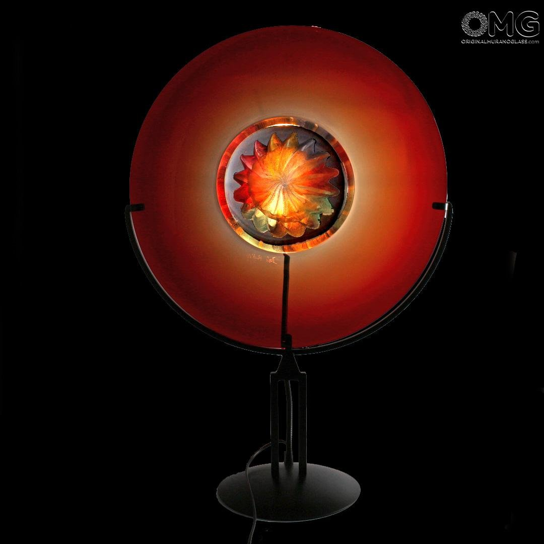 Disc on Stand Table Lamp - Sunset - Original Murano Glass