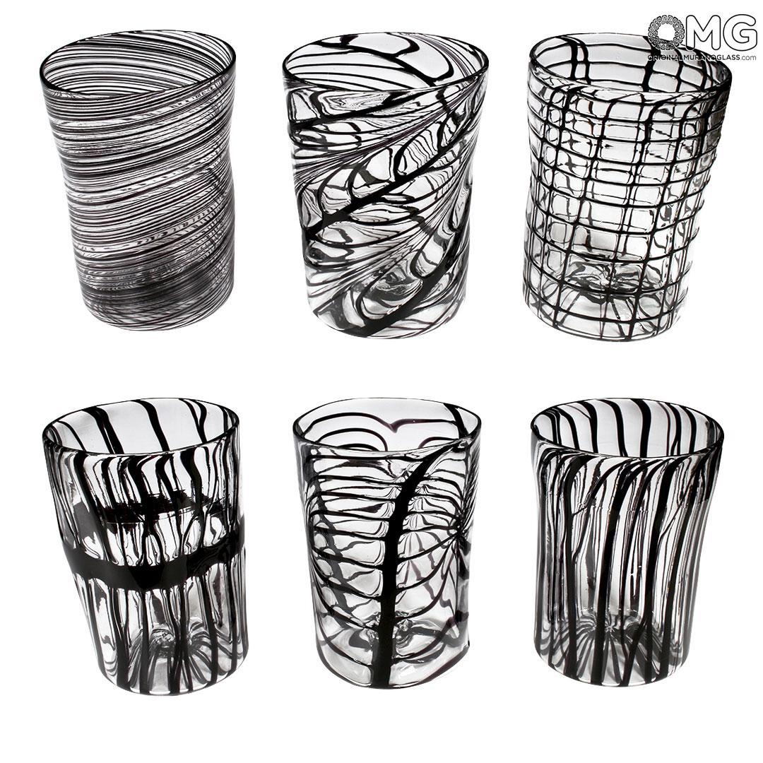 Lines Glasses Set - Black Tumblers - Original Murano Glass