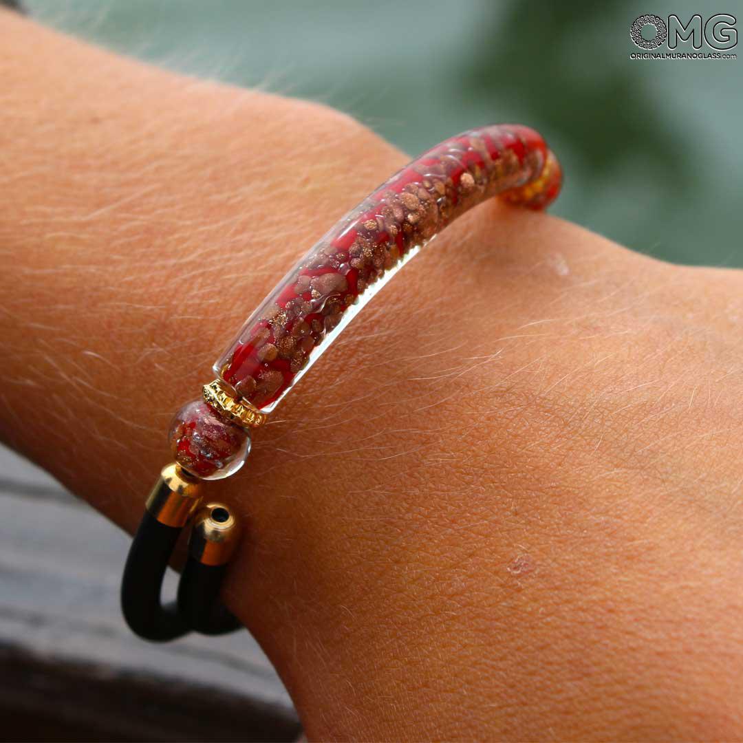 Браслет Серена - красный с авантюрином - муранское стекло OMG