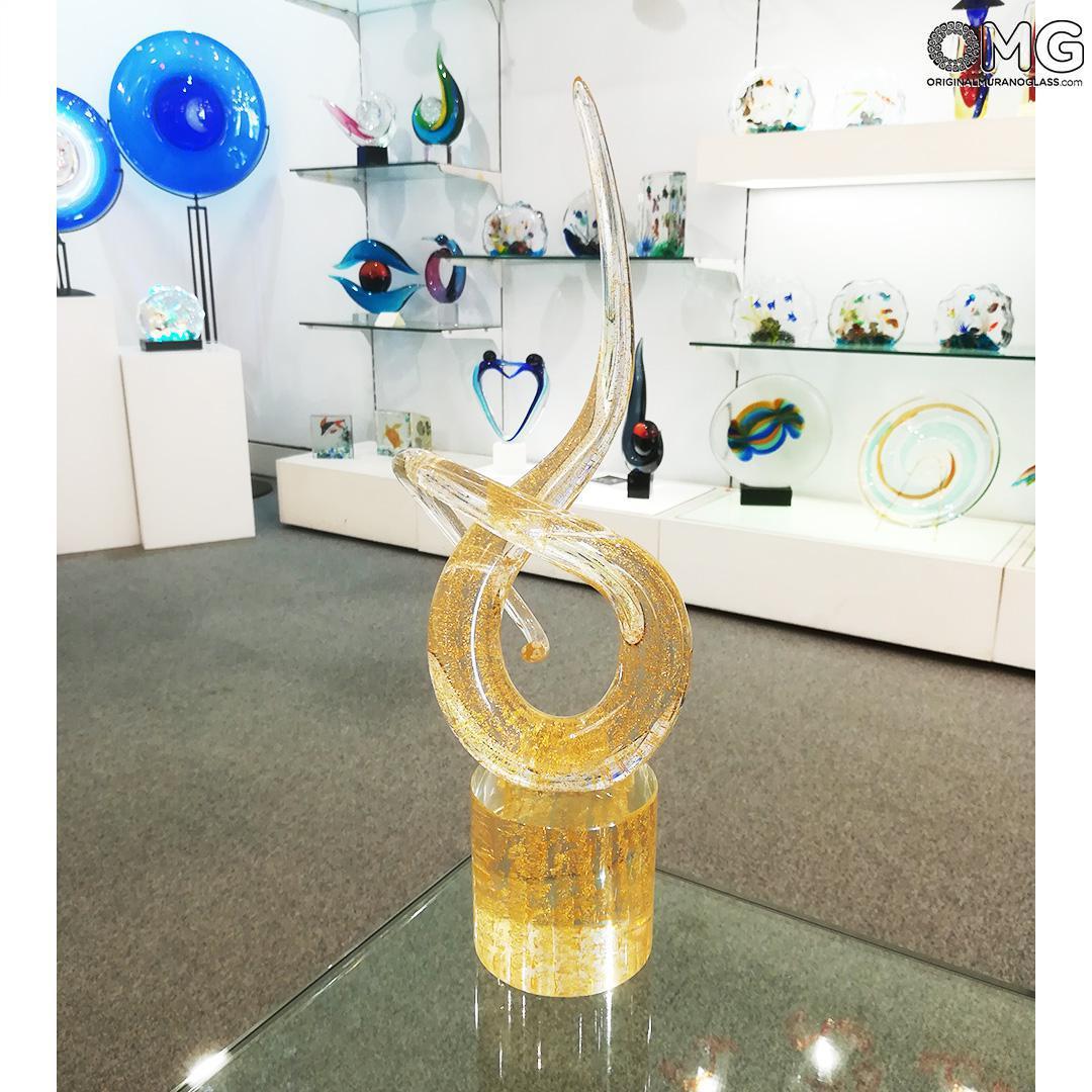 Скульптура Узел любви - золото 24 карата - автор Andrea Tagliapietra - муранское стекло