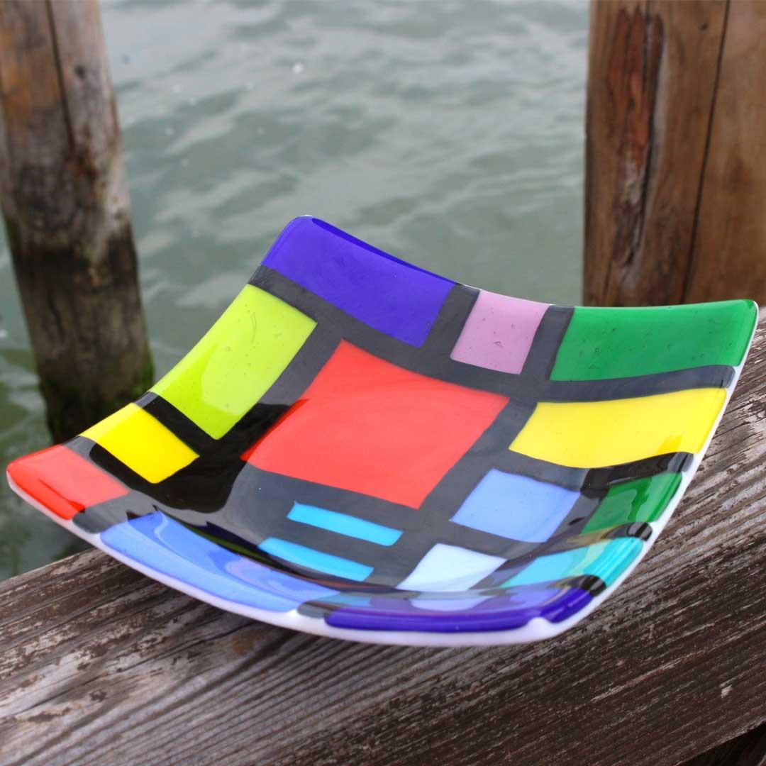 Mondrian Plate - Carnevale - Original Murano Glass OMG