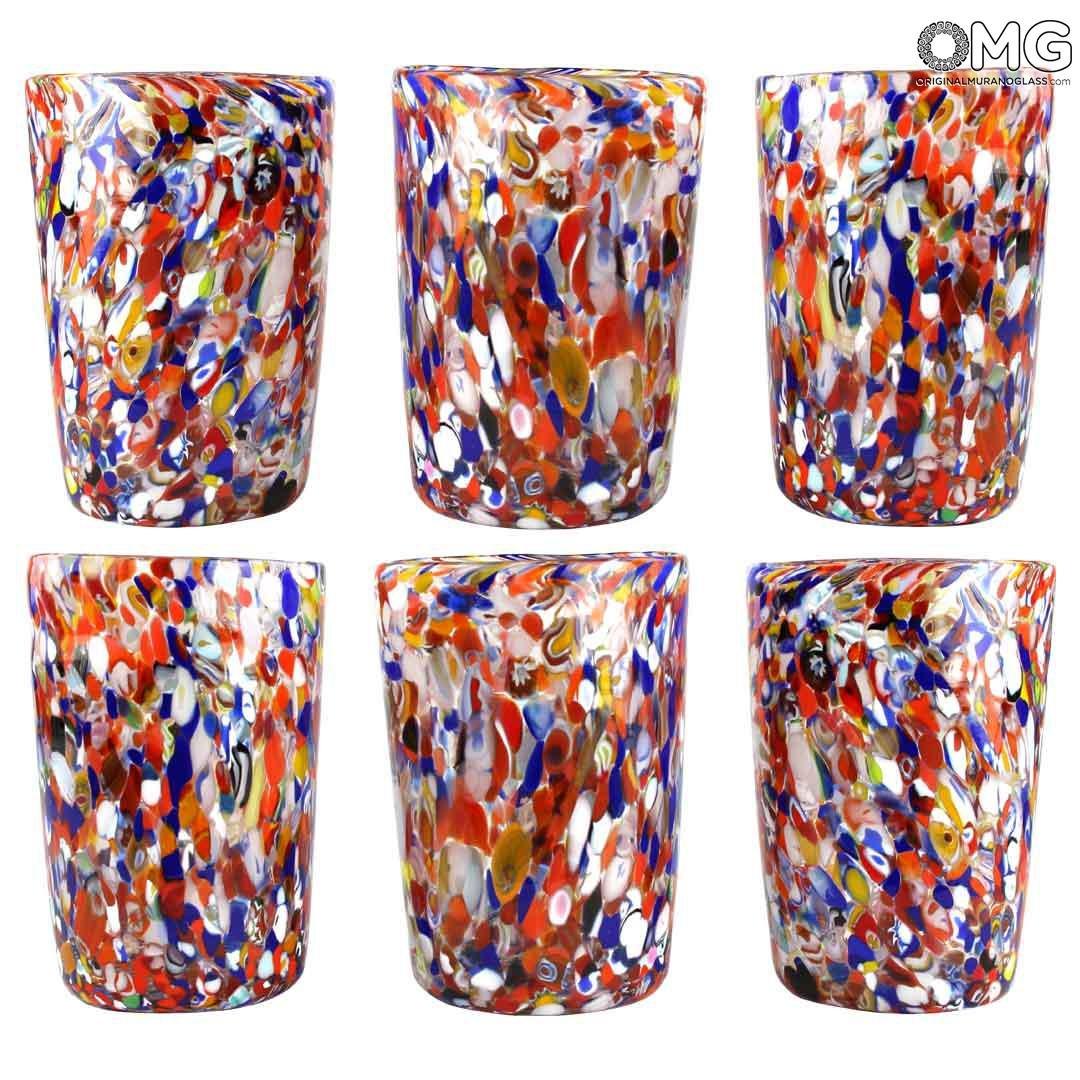 Набор из 6 стаканов Кориандоли - муранское стекло