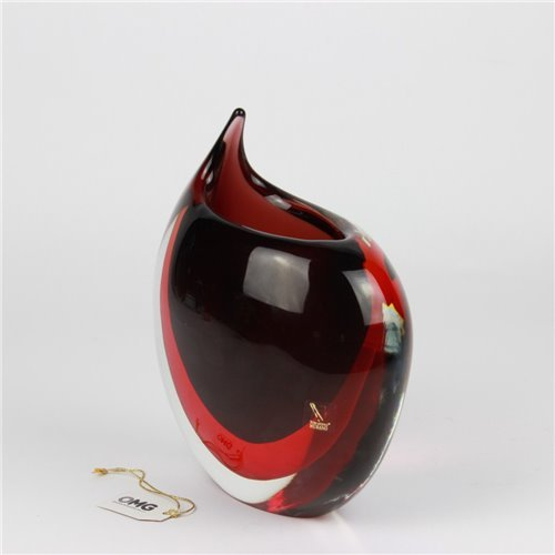 Vase Tiger Red Sommerso Murano Glass
