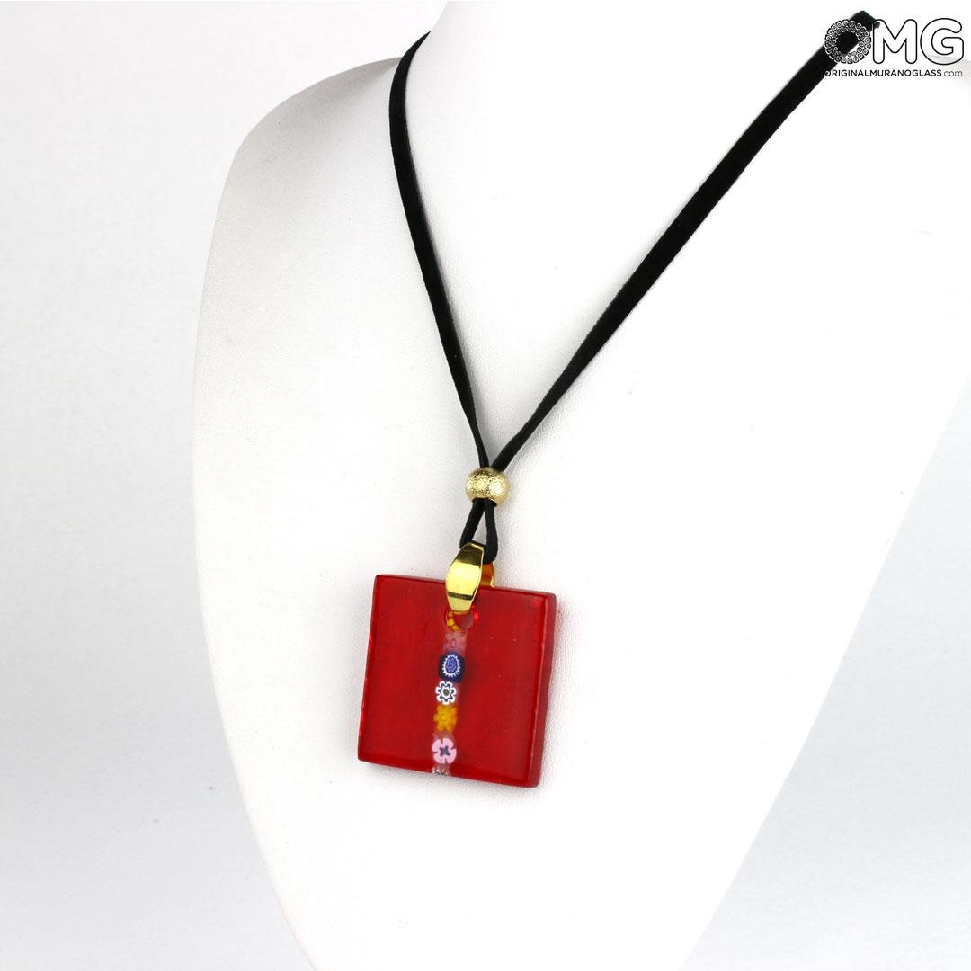 Mosaic Pendant - Red - Original Murano Glass OMG