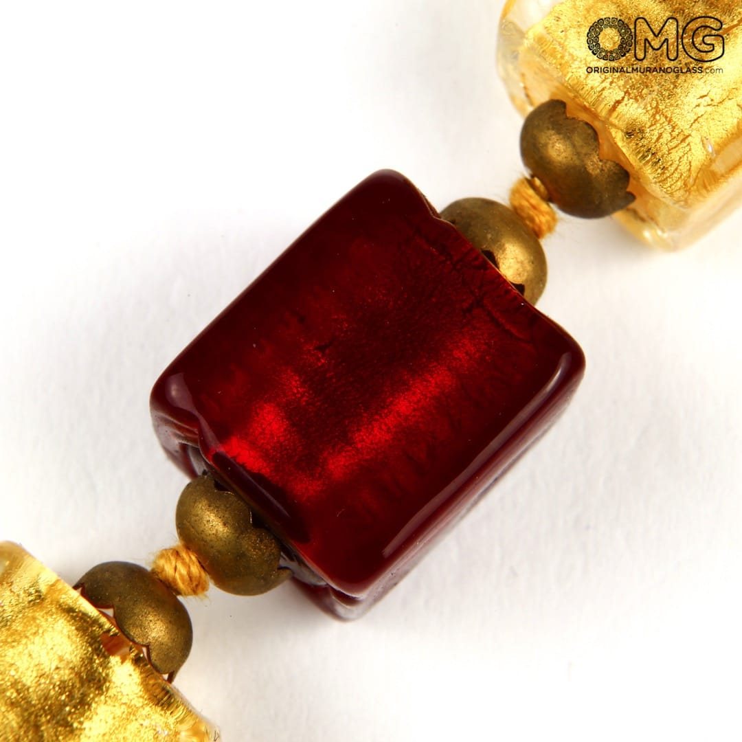 Necklace Raspberries - 24kt Gold - Original Murano Glass OMG