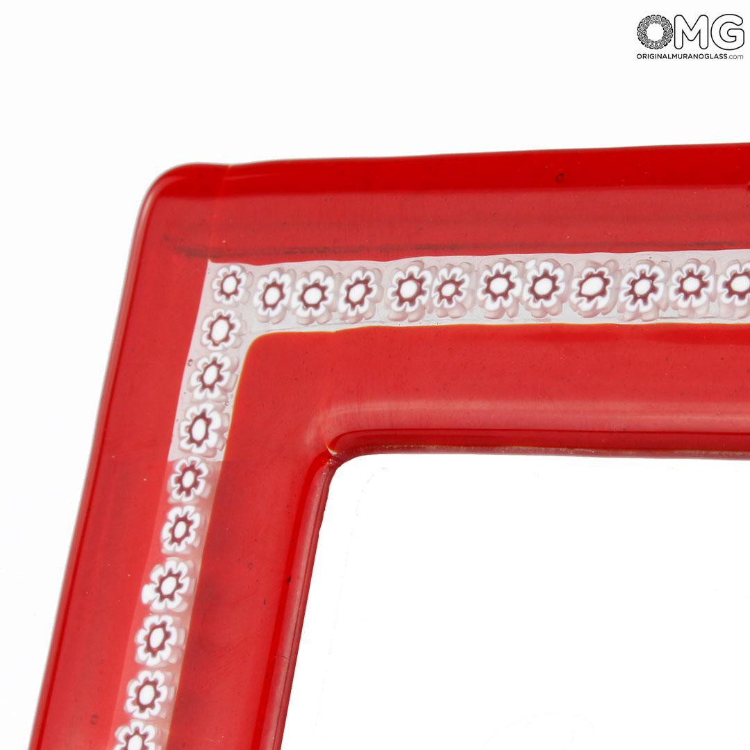 Photo Frame - Red & White Millefiori - Original Murano Glass OMG