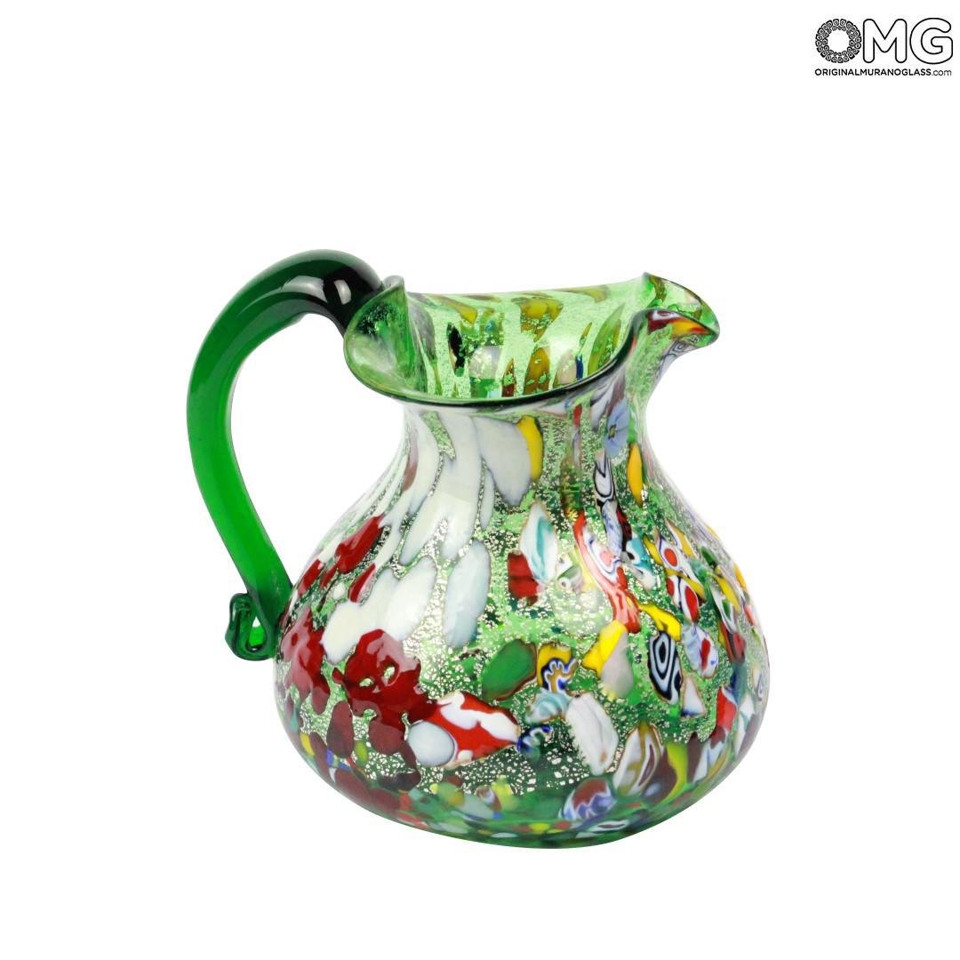 Pitcher Green Glass Mix Colors Glass