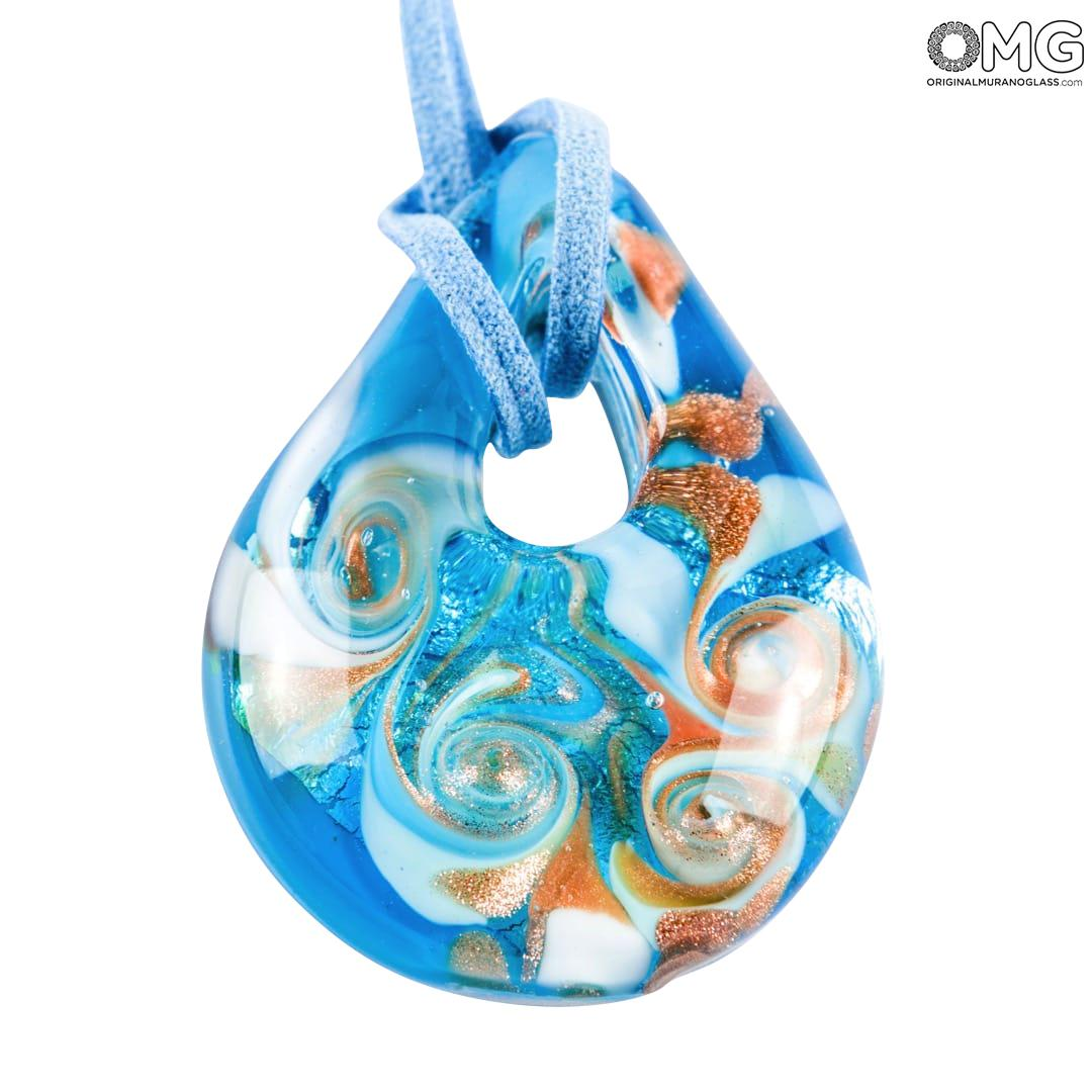 Drop pendant necklace - Blue - Original Murano Glass