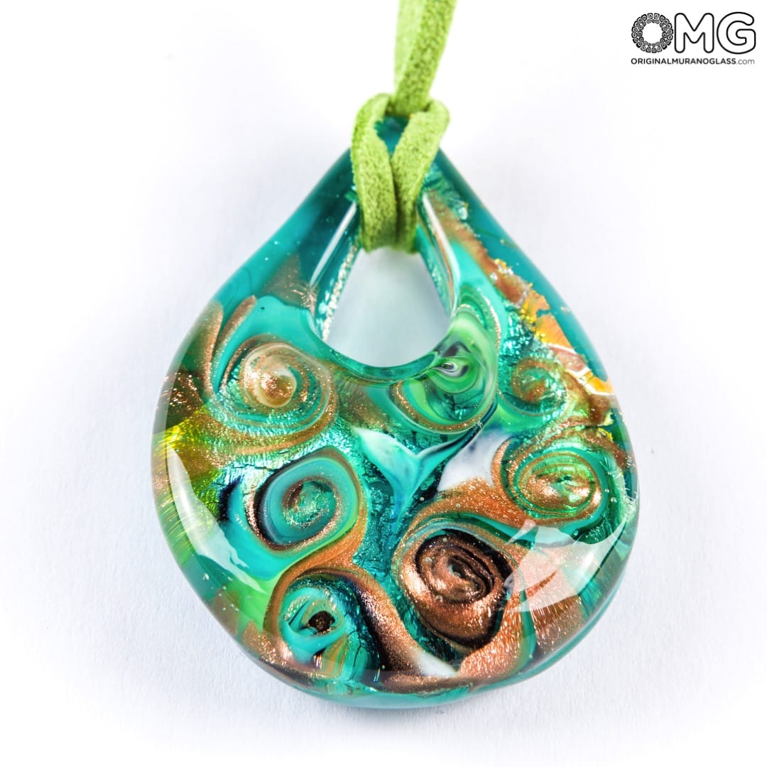 Drop pendant necklace - Green - Original Murano Glass