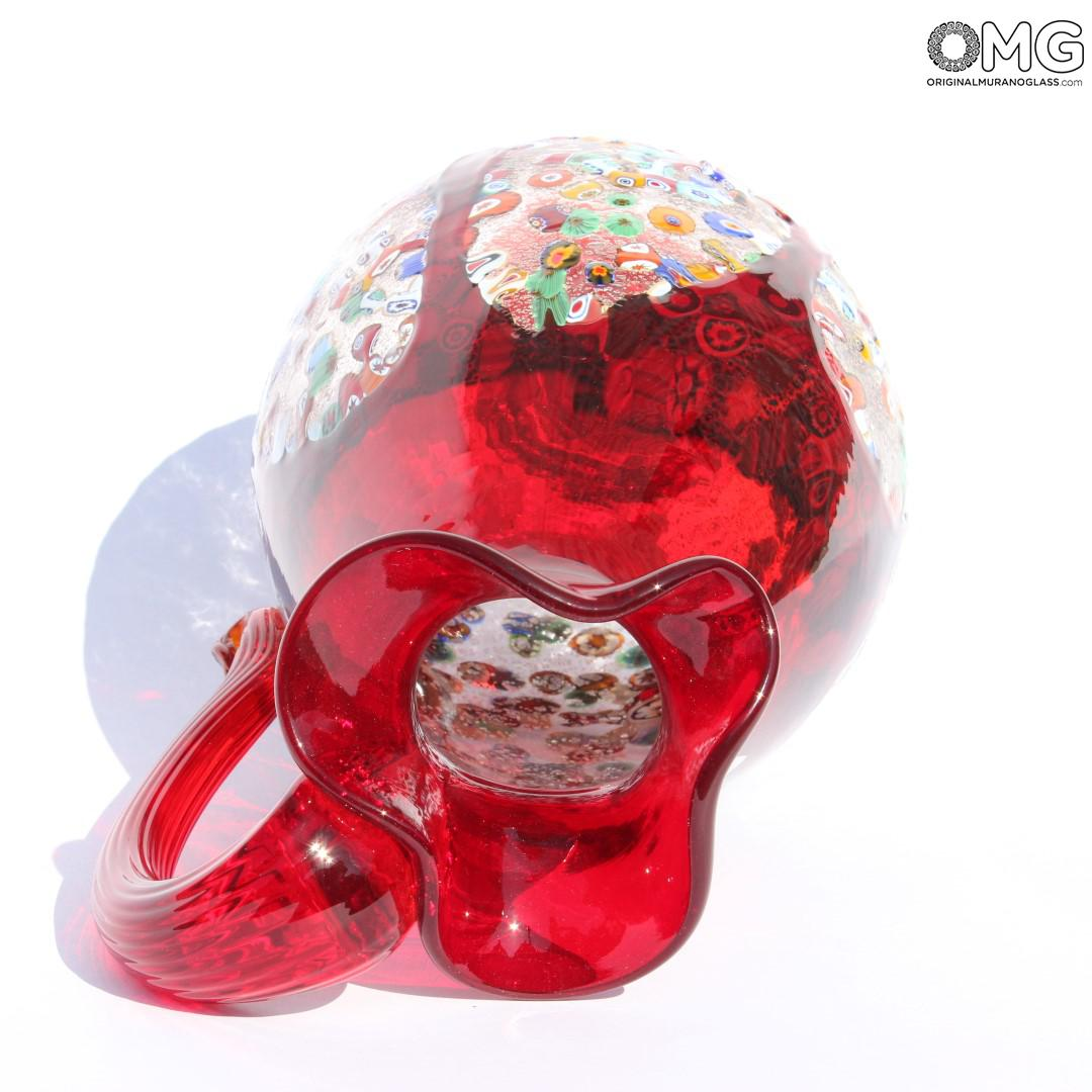 Pitcher Millefiori Red - Original Murano Glass OMG