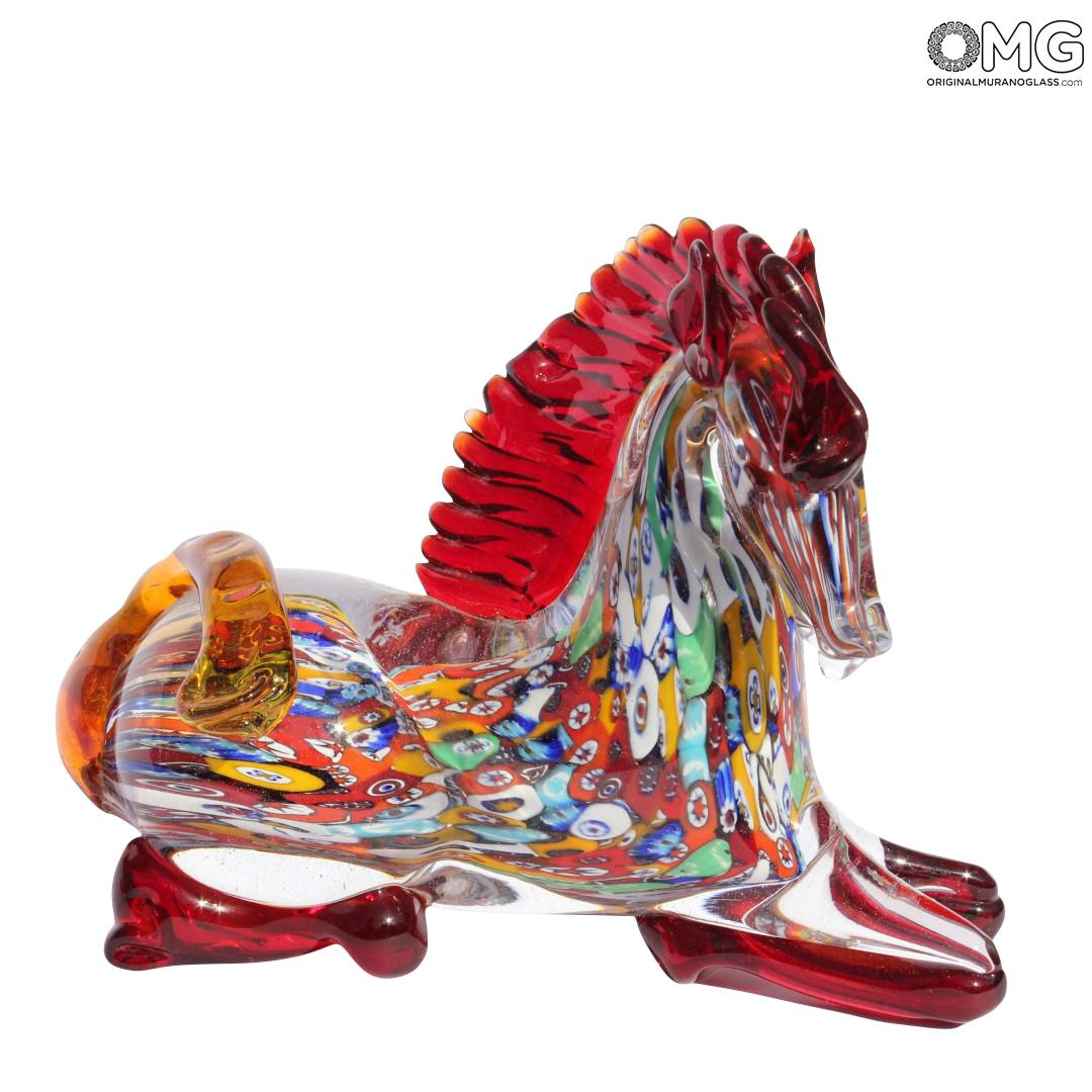 Horse Lying Millefiori Red Mane - Original Murano Glass OMG