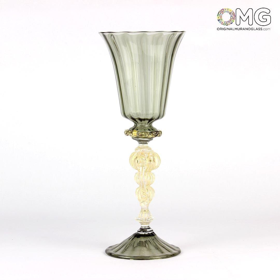 Venetian Goblet Stem Gray - Murano Glass