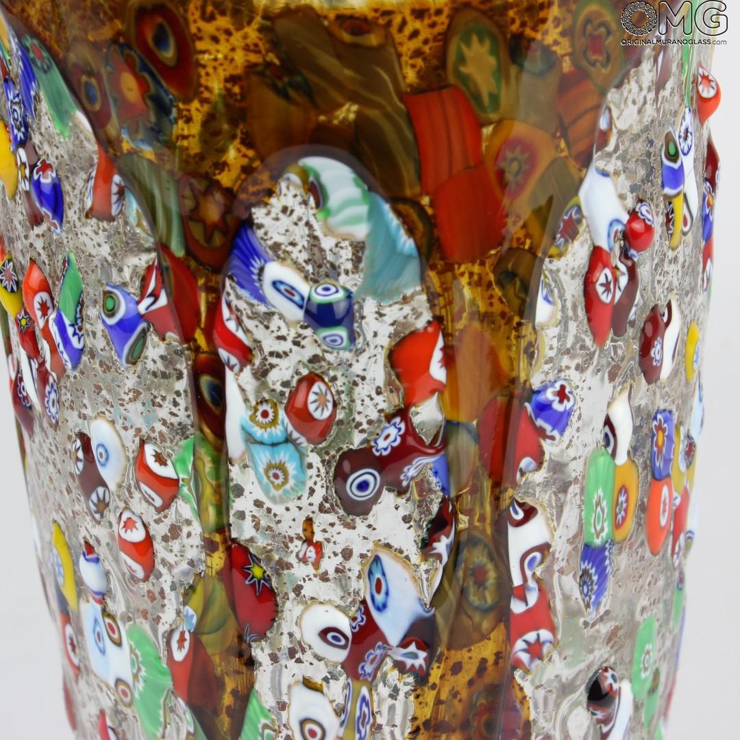 Goccia Amber - Bowl Centerpiece - Murano glass Millefiori
