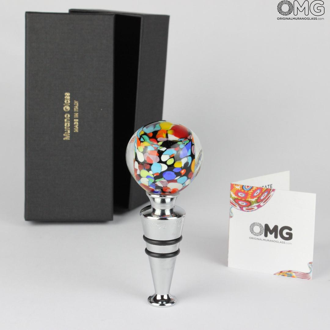 Bottle stopper - Murano Glass - Carnival +Box