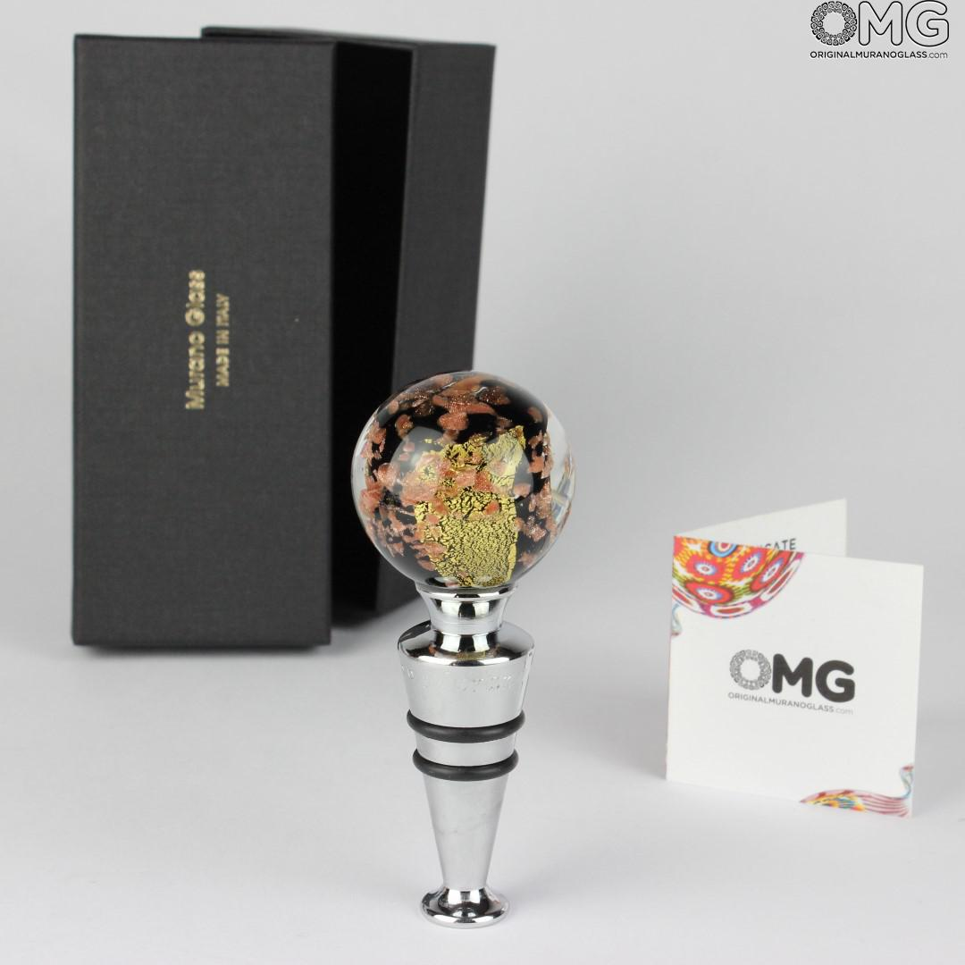 Bottle stopper - Murano Glass - Silver and Gold 24kt + BOX