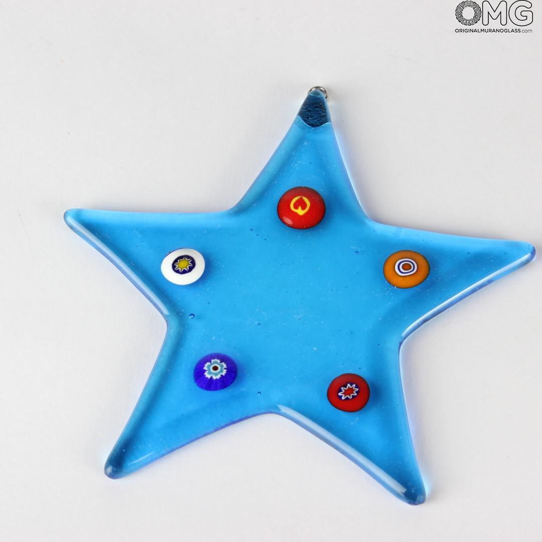 Christmas Decoration Stars - Millefiori Set of 3 pieces - Murano Glass Xmas