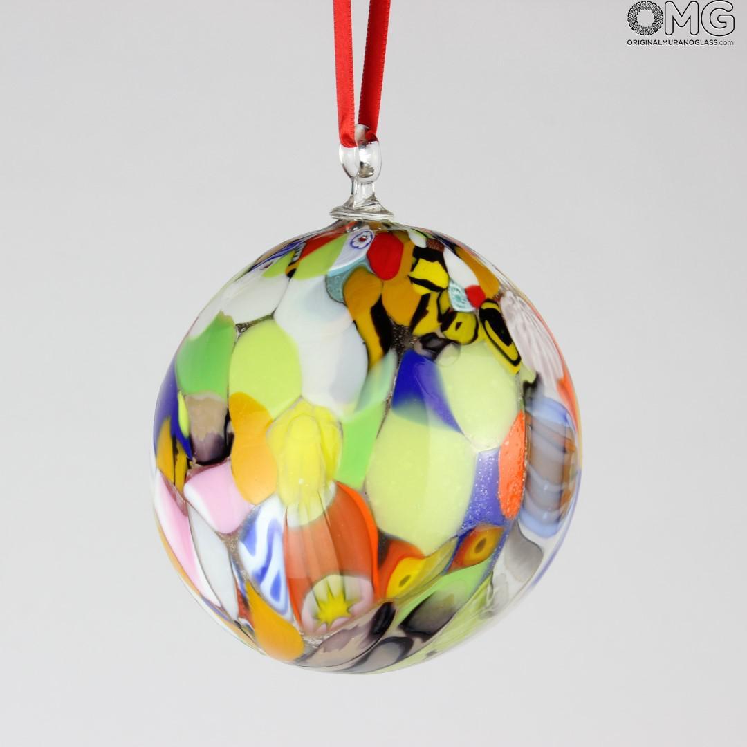 Palla di Natale - Millefiori Fantasy - Vetro di Murano Originale OMG