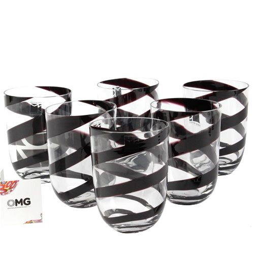 6 Drinking glasses Black Twist - Carlo Moretti - Original Murano Glass OMG