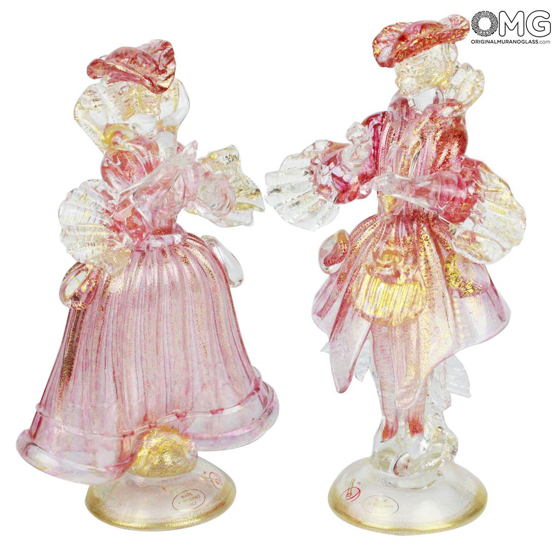 Couple Goldoni sculpture pink - Venetian Figurines Lady and Rider gold 24kt