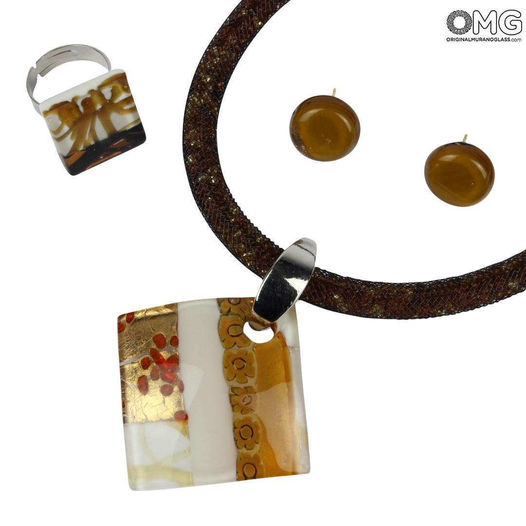Parure Cortina Cristallo - Amber Gold and Millefiori - Original Murano Glass