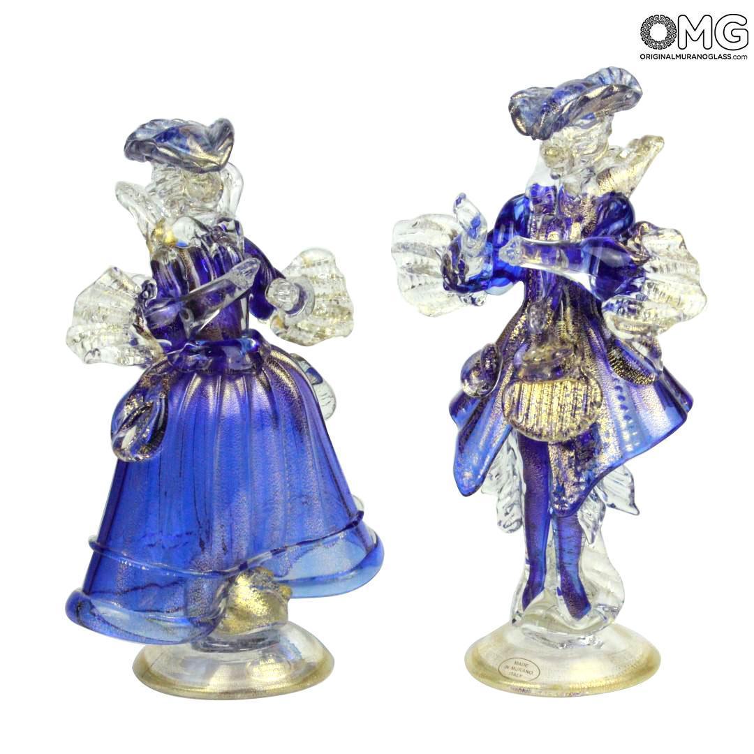 Couple Goldoni Venetian Figurines blue - gold 24kt decoration