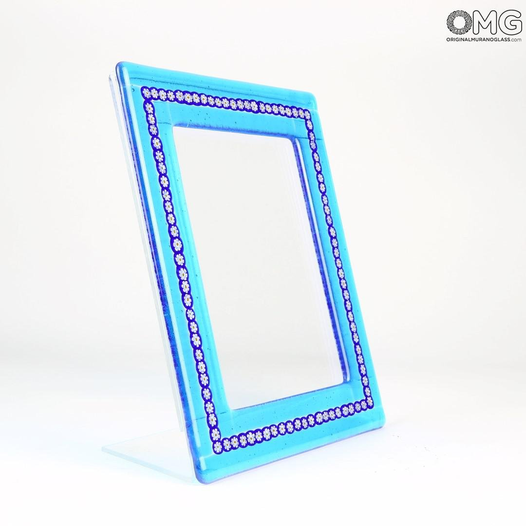 Photo Frame - Cyan & Blue Millefiori - Original Murano Glass OMG