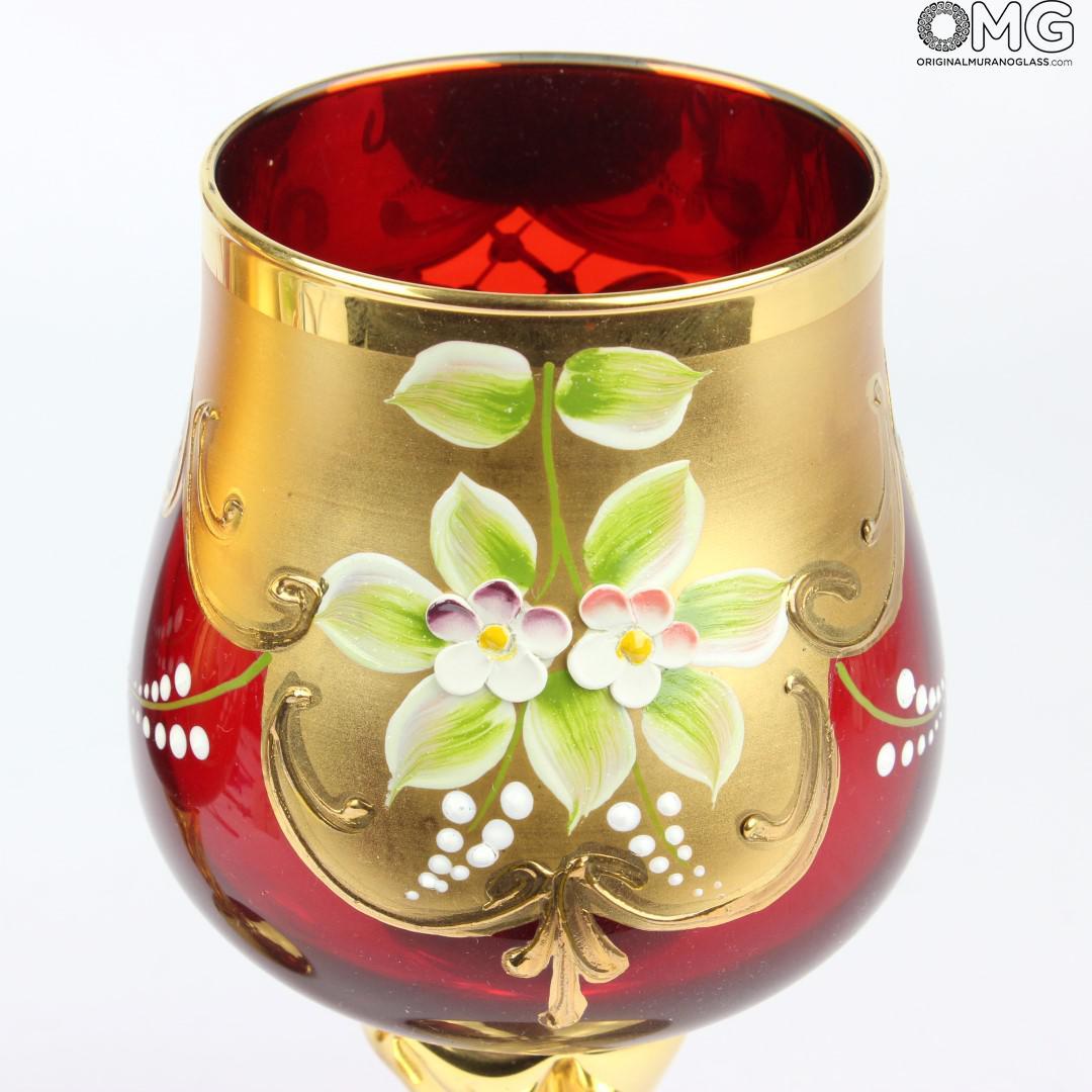 Set of 2 Trefuochi Glasses Red - You&Me - Original Murano Glass