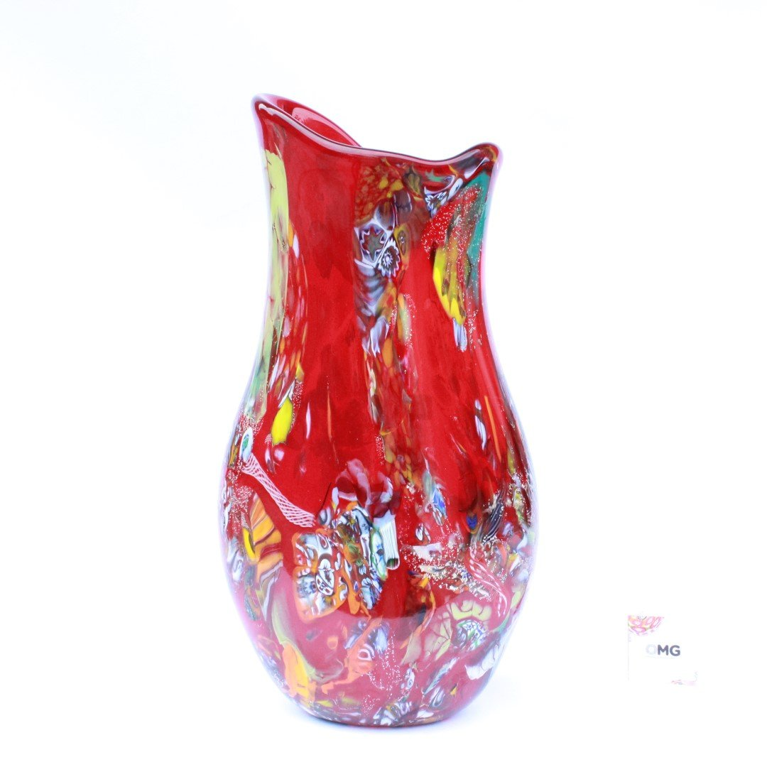 Vase Flame Red Murano Glass Vase