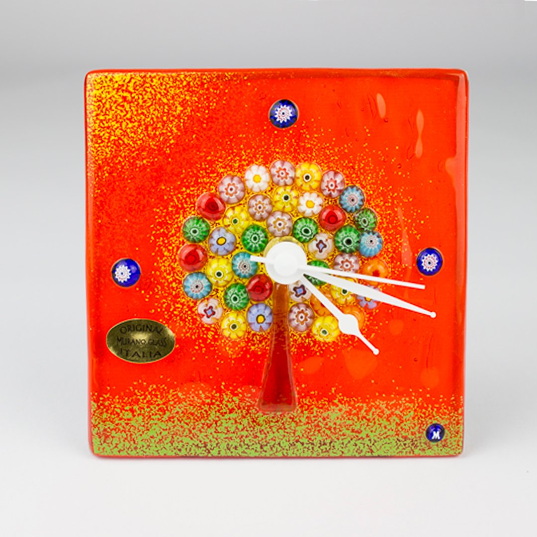 The Tree of Life - Clock with Pedestal - Murano Glass watch Millefiori