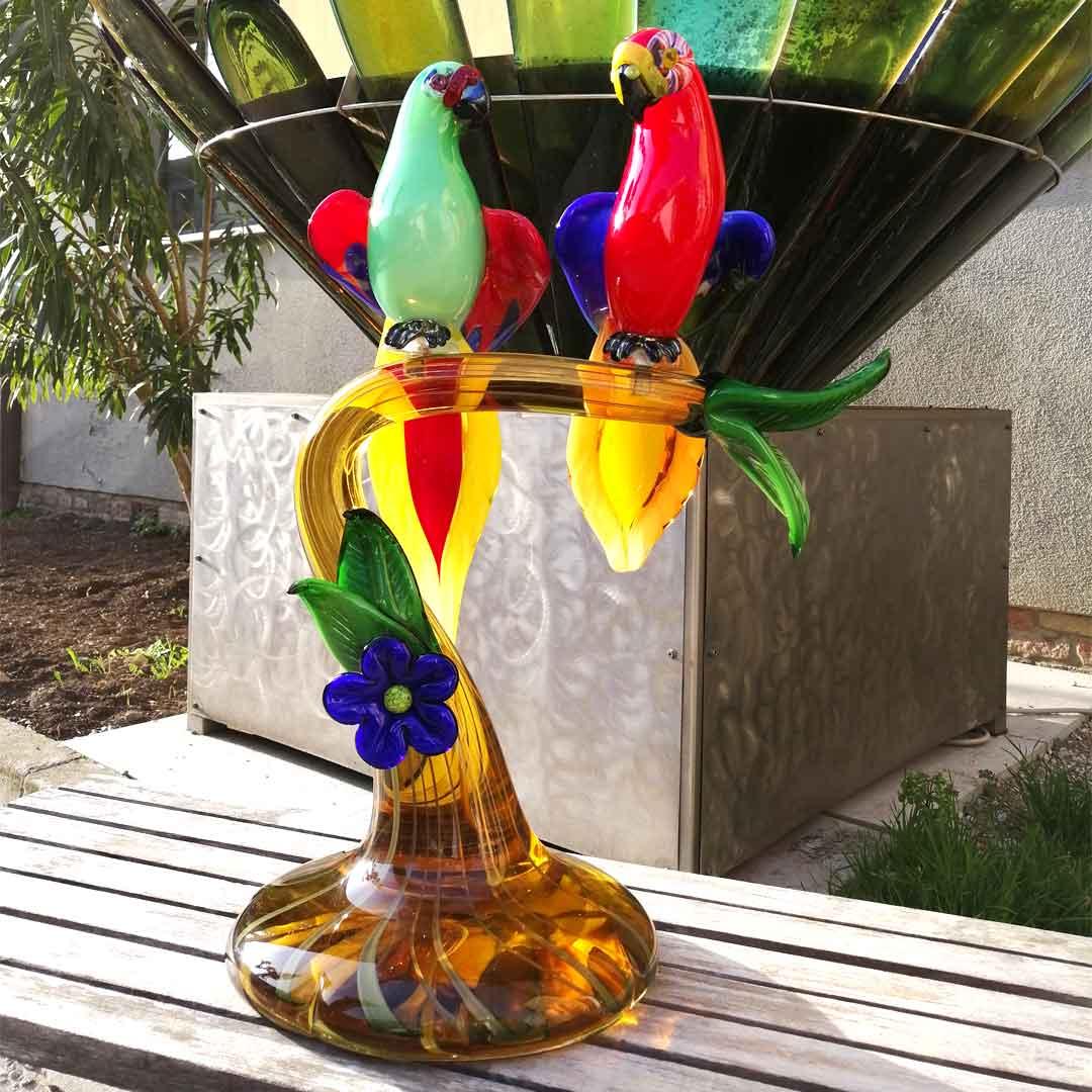 Скульптура Попугайчики на ветке - муранское стекло OMG