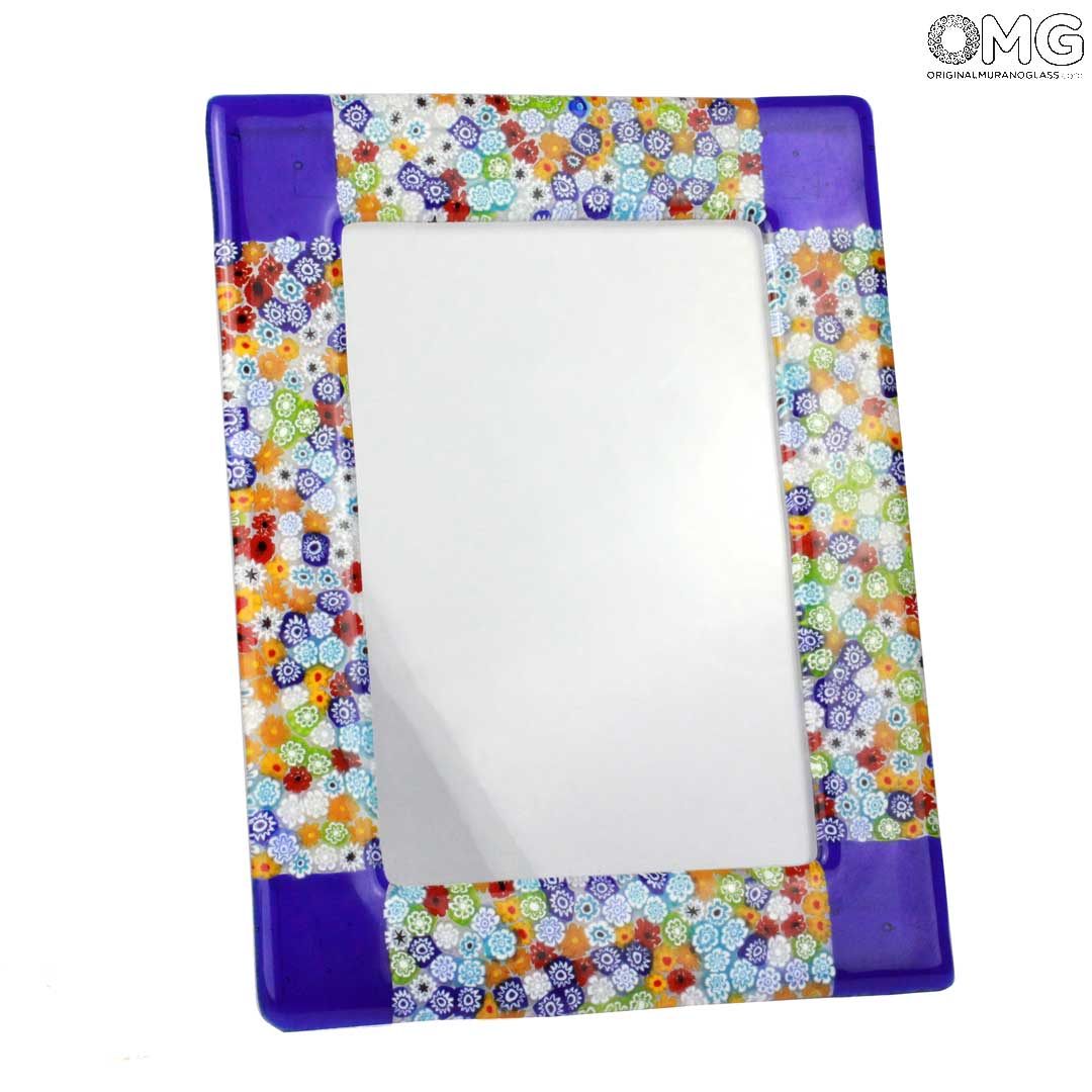 Photo Frame Fantasy Blue with Millefiori - fused glass