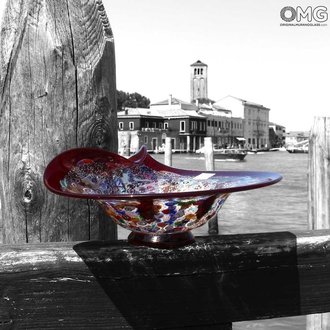Drop Bowl Centerpiece Millefiori -  Red Glass with Silver