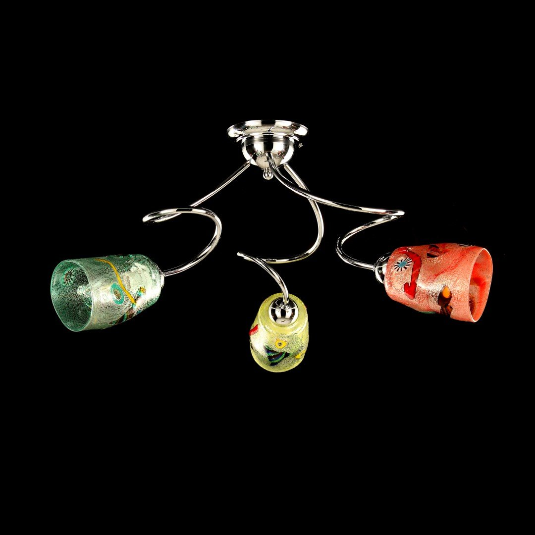 Italy iTaly - Ceiling Lamp 3 lights- Murano glass - Different colors