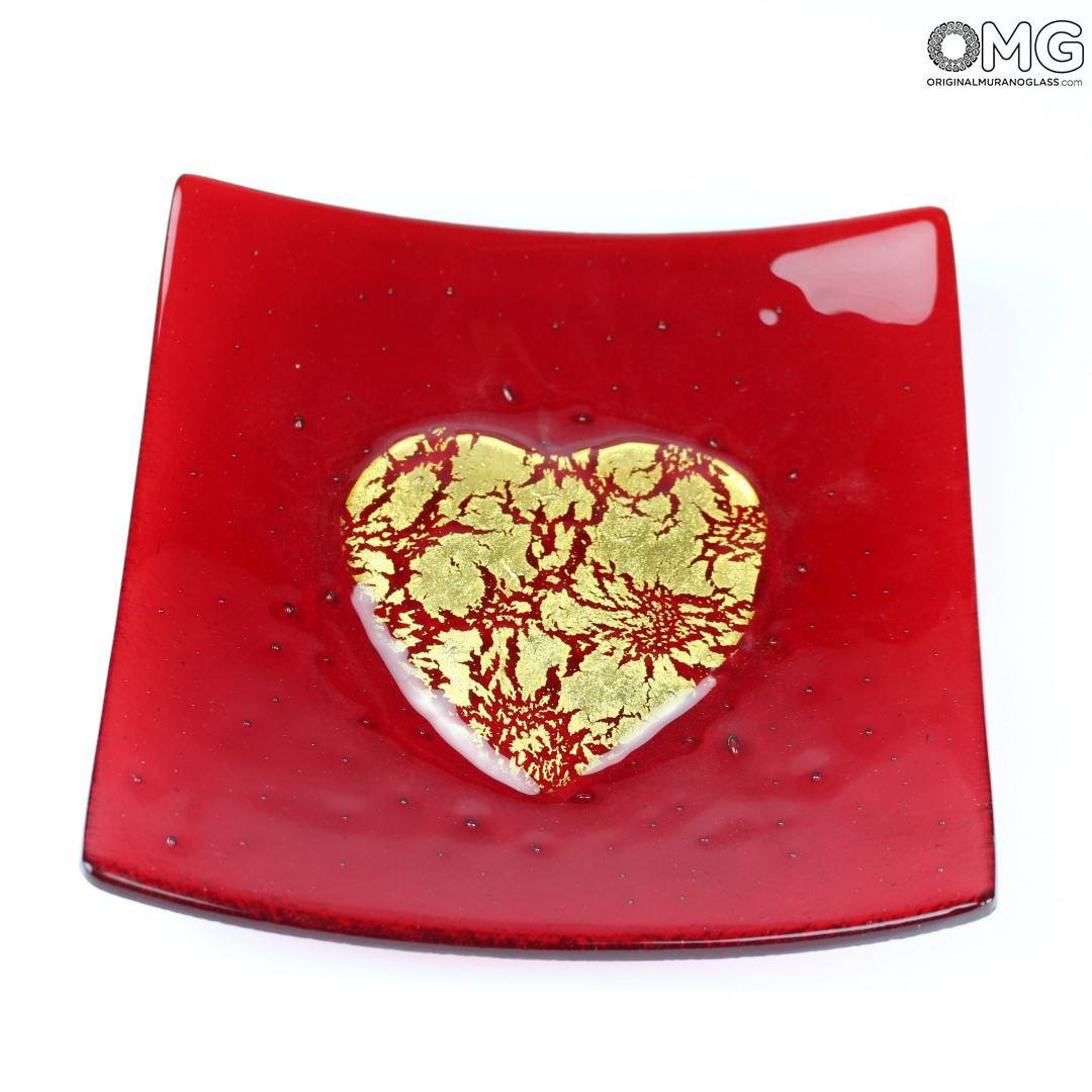 Декоративное блюдце Золотое сердце - красное - Original Murano Glass OMG