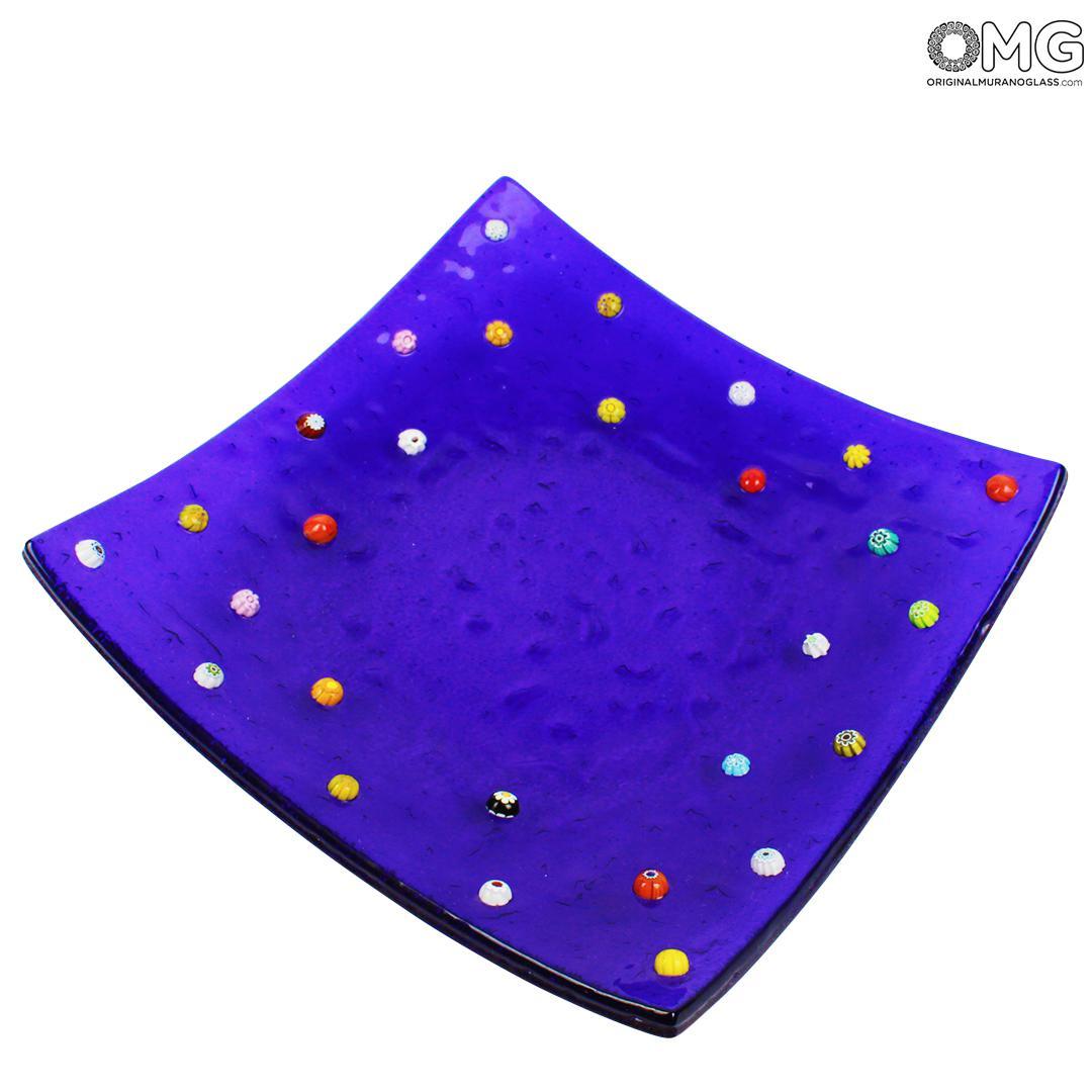 Murrina blue plate - glass fused - Empty pockets