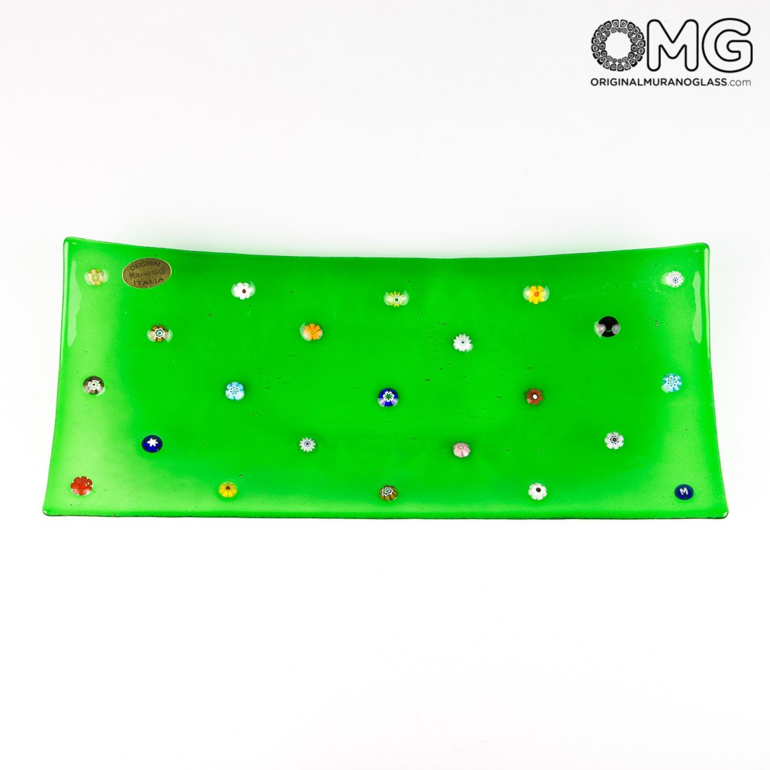 Rectangular Plate Fly - Empty pockets - Millefiori green - Murano Glass