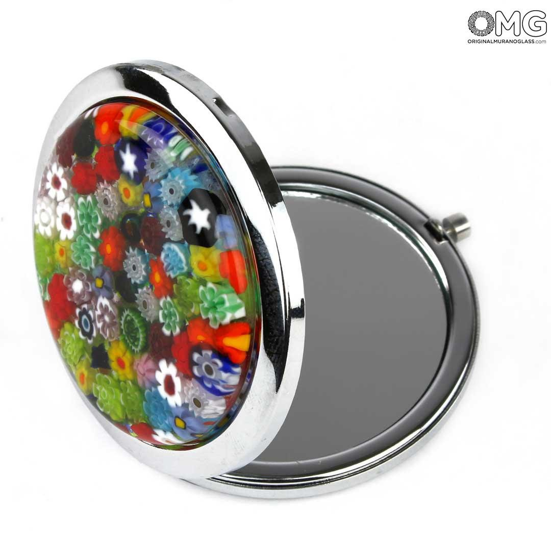 Pocket Mirror - with millefiori - Original Murano Glass OMG