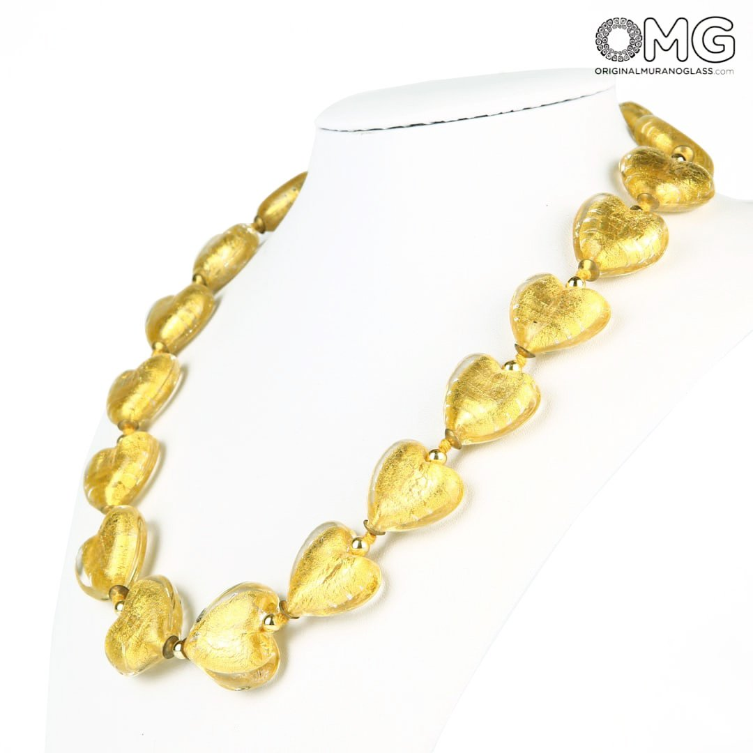 Necklace Hearts Stones - 24kt Gold Leaf - Original Murano Glass OMG
