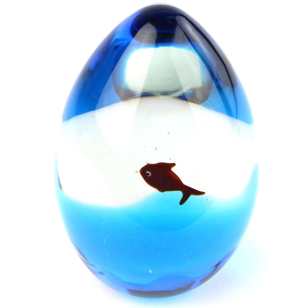 Скульптура Аквариум-яйцо - муранское стекло OMG