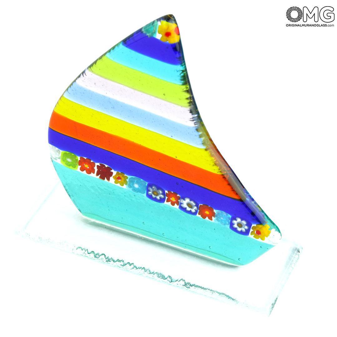 Barca a vela fermacarte - diversi colori disponibili - Vetro di Murano