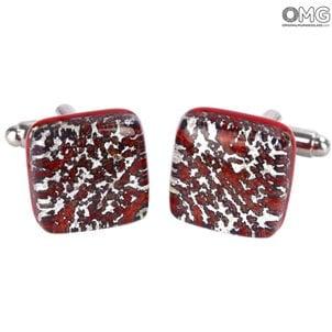 袖扣_red_silver_murano_glass_1