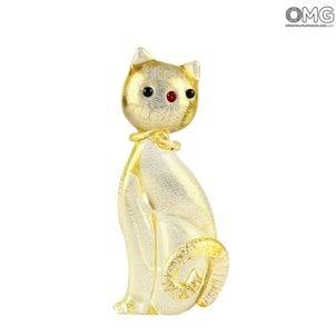 Golden_cat_animal_gold_original_murano_glass_omg