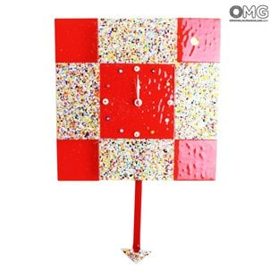 red_square_arlecchino_clock_wall_murano_glass_omg_red44