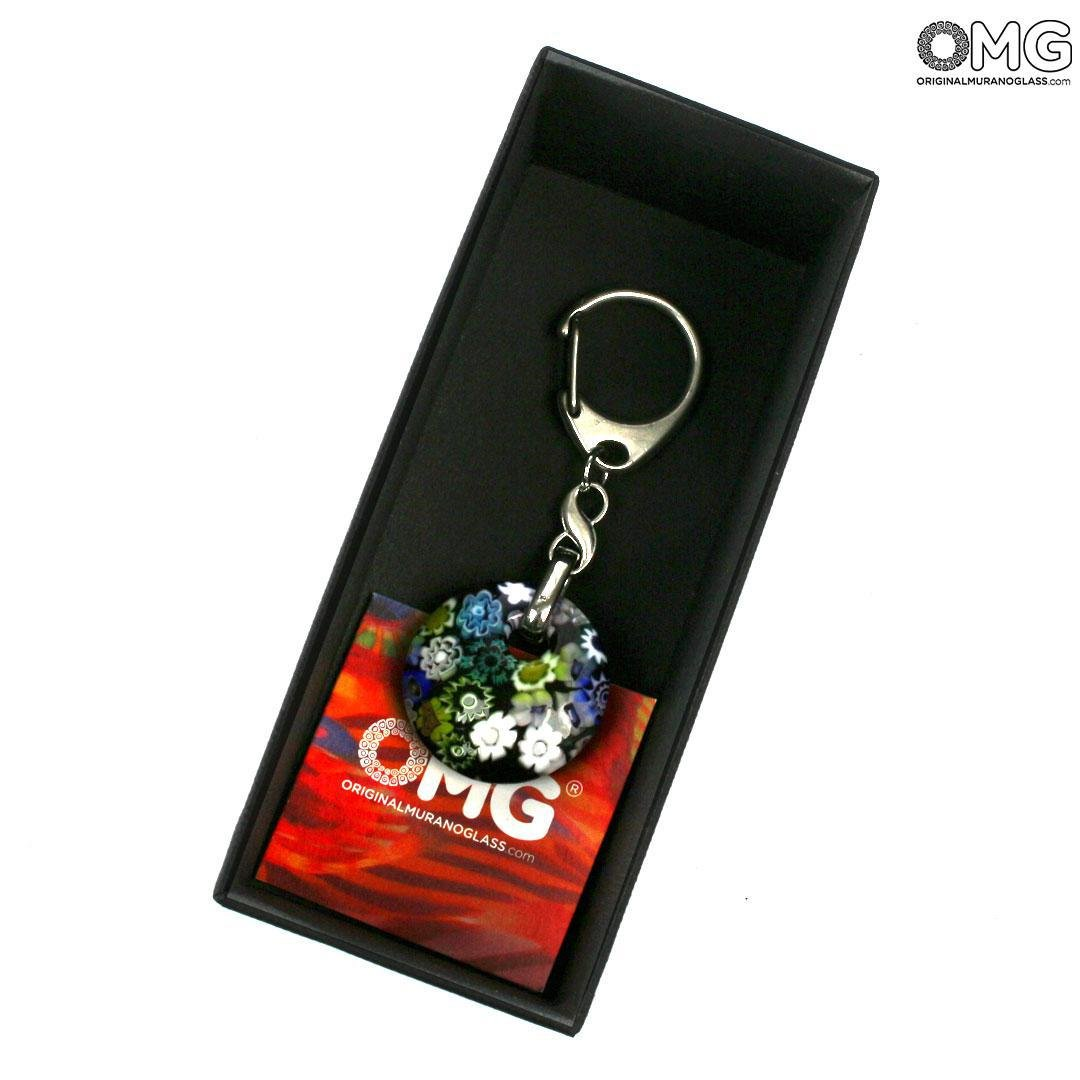 Round Keychain - with Millefiori - Original Murano Glass OMG