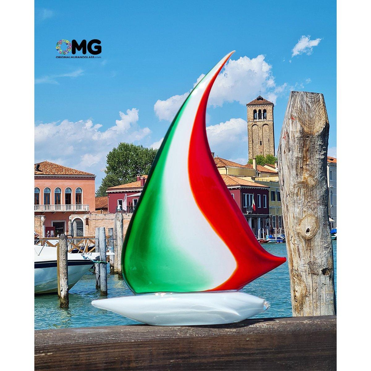 Sail Boat Italy Flag  - Original Murano Glass sculpture