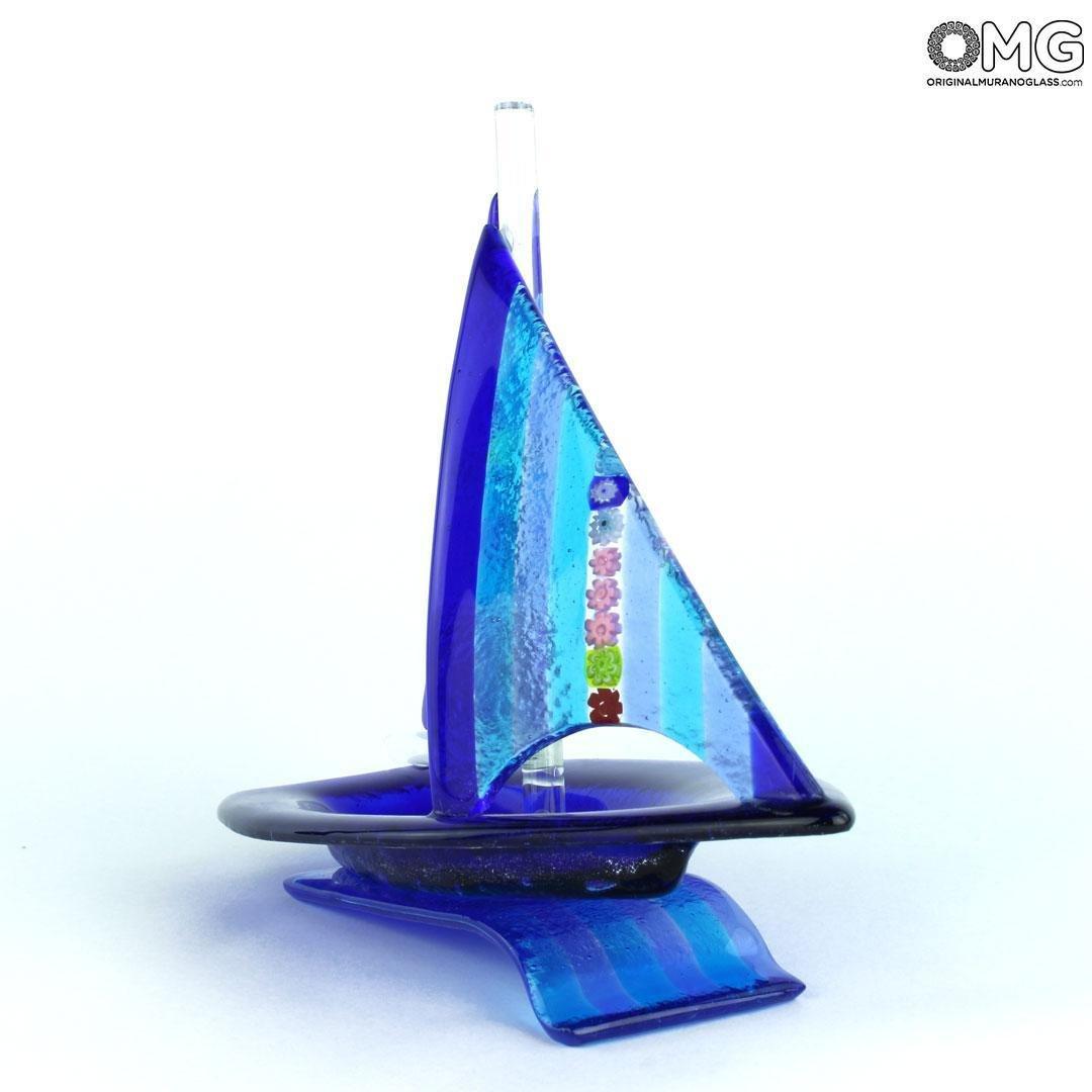 Скульптура Синий Парусник - муранское стекло OMG